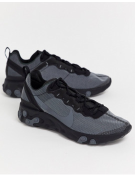 Nike React Element 55 Trainers In Triple Black Ci3831 001 by Nike