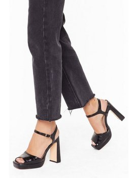 Faux Croc Print Block Heel Two Part Platforms by Nasty Gal