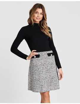 Boucle Skirt 2 In 1 Dress by Dorothy Perkins