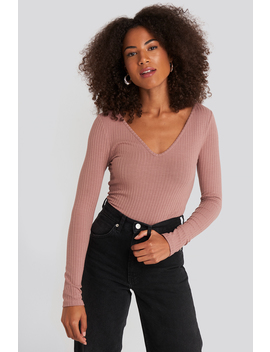 Ribbed Long Sleeve V Neck Top Rose by Na Kd