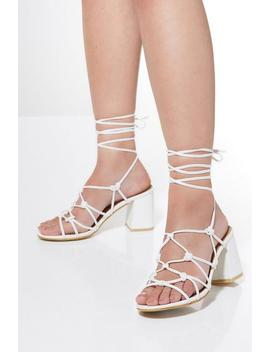 White Lace Up Heeled Sandals by Quiz