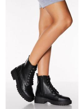 Black Lace Up Chunky Hiker Boots by Quiz