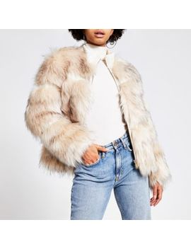 Cream Faux Fur Zip Front Jacket by River Island