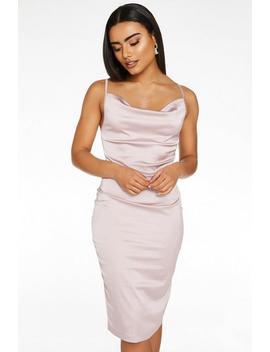 Mauve Satin Cowl Neck Bodycon Midi Dress by Quiz