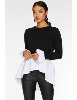 Petite Black Knit Round Neck Shirt Jumper by Quiz