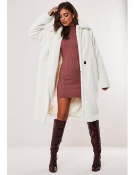 White Faux Fur Tortoiseshell Button Coat by Missguided