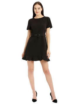 Belted Scuba Dress by Tokito Petites
