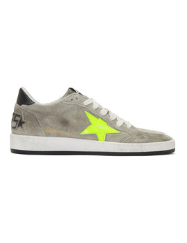 Grey & Yellow Suede Ball Star Sneakers by Golden Goose