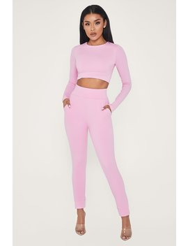 Amelia Fitted High Waisted Joggers   Pink by Meshki