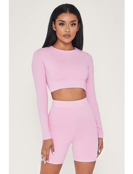 Emely Long Sleeve Crop Top   Pink by Meshki