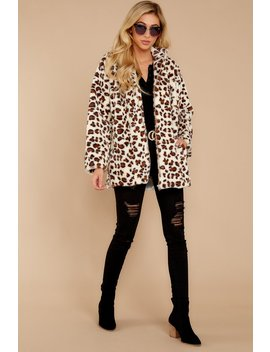 Ever Cool Cream Leopard Print Vegan Fur Jacket by Jasmine Trading Corp