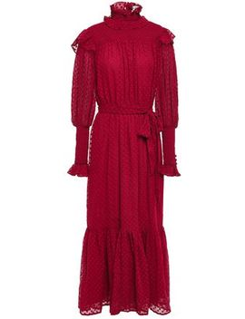 Lakendra Belted Ruffled Fil Coupé Midi Dress by Walter Baker