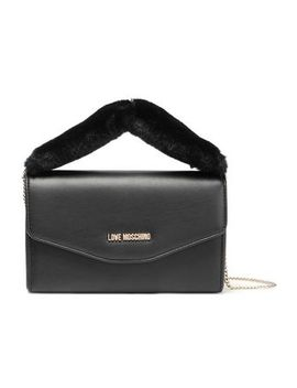 Faux Fur Trimmed Embellished Faux Leather Clutch by Love Moschino