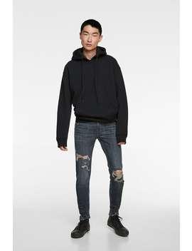 Skinny Jeans Med Flossede Buksebenskanter by Zara