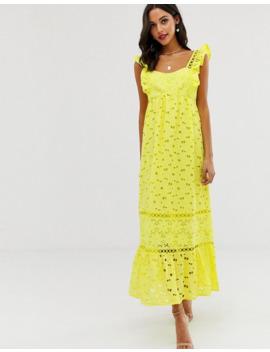Платье трапеция макси с квадратным вырезом и вышивкой ришелье Asos Design by Asos Design