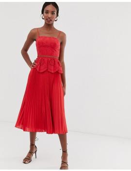 Платье миди с вышивкой ришелье на лифе и плиссированной юбкой Asos Design Tall by Asos Design