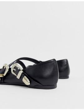 Черные балетки в стиле вестерн с острым носом Asos Design Lexicon by Asos Design