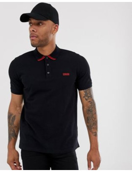 Hugo Dyler Tipped Logo Polo In Black by Hugo