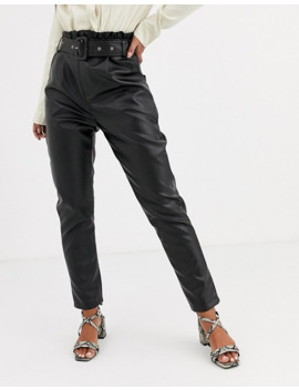 In The Style X Stephsa Pu Paperbag Waist Pant With Belt In Black by In The Style's