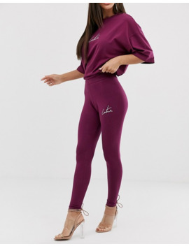 The Couture Club Motif Legging In Berry by Asos