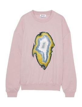 Snappy Coated Printed Cotton Blend Fleece Sweatshirt by Acne Studios