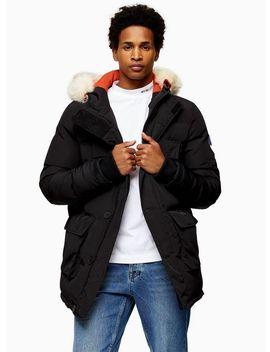 Bellfield Black Faux Fur Trim Hooded Puffer Jacket by Topman