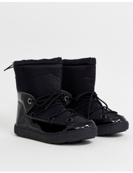 Glamorous Black Lace Up Snow Boots by Glamorous