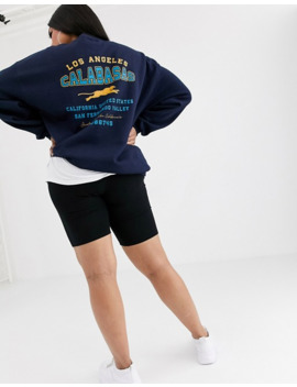 Pretty Little Thing Plus Sweat With Calabasas Slogan In Navy by Pretty Little Thing