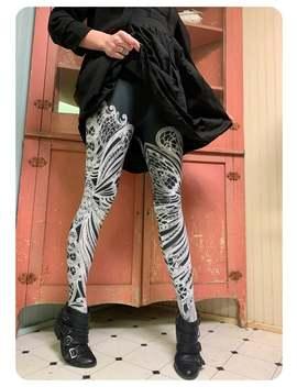 Filigree Leggings ~ Art Nouveau Butterfly Tights Black White Swirl Legwear Foxsavant by Etsy
