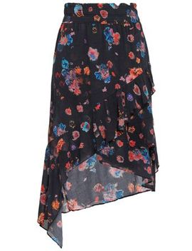 Wrap Effect Floral Print Gauze Skirt by Iro