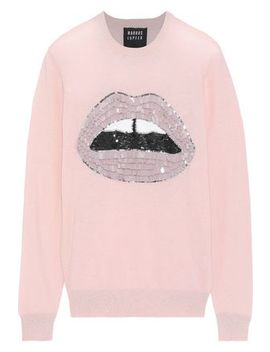 Mia Sequin Embellished Cotton Sweater by Markus Lupfer