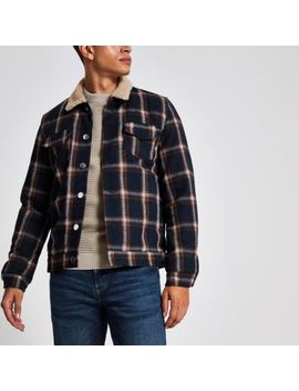 Bellfield Navy Check Borg Collar Jacket by River Island