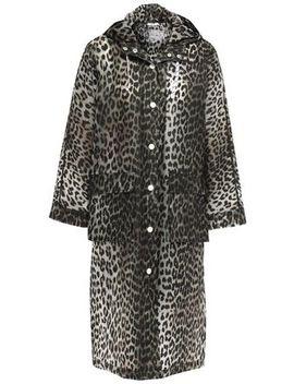 Leopard Print Pvc Hooded Raincoat by Ganni