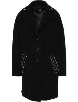 Studded Wool Blend Felt Coat by Love Moschino