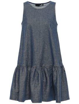 Flared Gathered Denim Mini Dress by Love Moschino