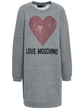 Crystal Embellished Printed French Cotton Blend Terry Mini Dress by Love Moschino