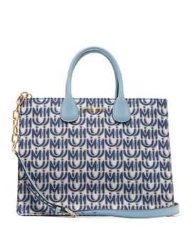 Logo Jacquard Leather Handle Tote Bag by Miu Miu