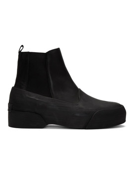 Black Leather & Rubber Chelsea Boots by Dries Van Noten