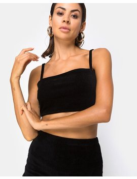Kylie Top In Velvet Rib Black By Motel by Motel