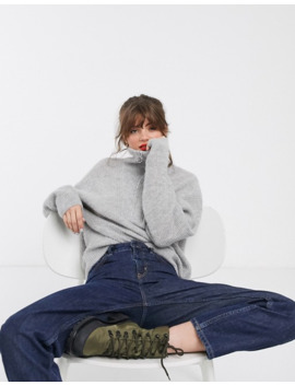 & Other Stories High Neck Zip Detail Sweater In Gray by & Other Stories