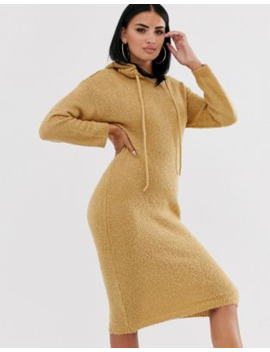 Asos Design Hooded Midi Dress In Borg Yarn by Asos Design