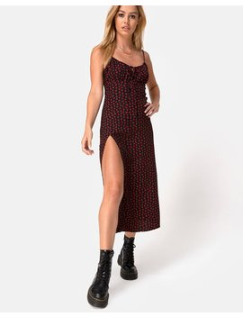 Cypress Midi Dress In Dotty Rose Red By Motel by Motel