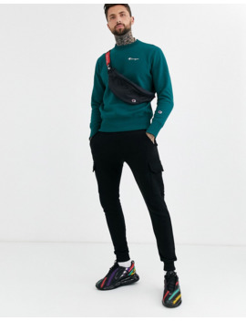 Champion Reverse Weave Small Script Crewneck Sweatshirt In Teal by Champion