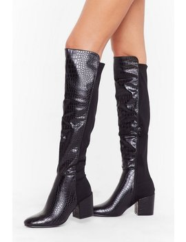 Faux Croc Stretch Otk Boots by Nasty Gal
