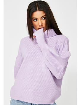 Oversized Lilac Turtleneck Sweater by Glamorous