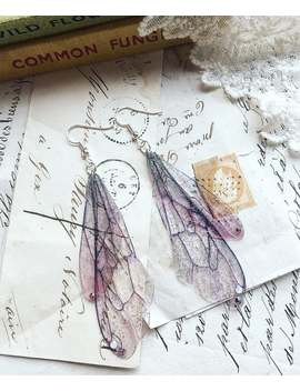 """New Rather Pretty Pink And Lavender Medium \""""Bee Inspired Faerie Wing Earrings\ by Etsy"""