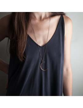 Crescent Moon Necklace: Moon Slice Pendant Necklace // Long Necklaces // Boho Jewelry Silver Necklace // Custom Chain // Bohemian Fringe by Etsy