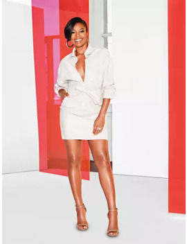 Faux Leather Zip Front Shirtdress   Gabrielle Union Collection by New York & Company