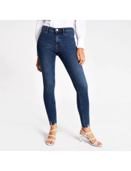 Dark Blue Molly Mid Rise Fray Hem Jeggings by River Island
