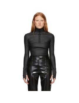 Black Coated Stretch Light Zipper Sweatshirt by Kwaidan Editions